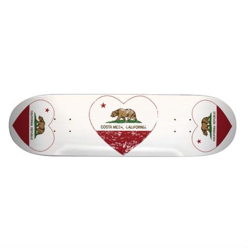 california flag costa mesa heart distressed skateboard deck