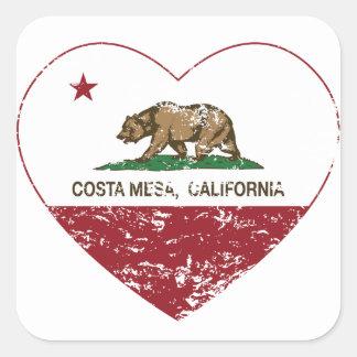 california flag costa mesa heart distressed square sticker