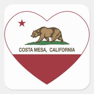 california flag costa mesa heart square sticker