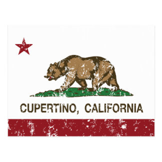 california flag cupertino distressed postcard