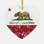 california flag daly city heart distressed Double-Sided heart ceramic christmas ornament
