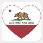 california flag dana point heart square sticker