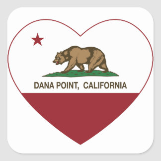 california flag dana point heart square sticker