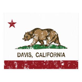 california flag davis distressed postcard