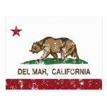 california flag del mar distressed postcard