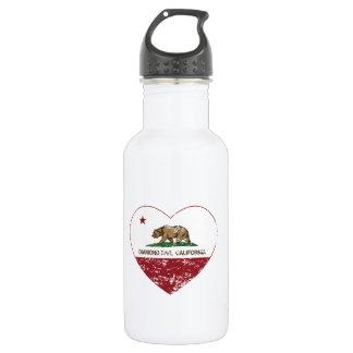 california flag diamond bar heart distressed stainless steel water bottle