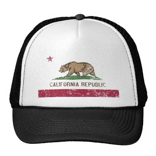 California Flag Distressed Trucker Hats