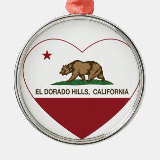 california flag el dorado hills heart metal ornament