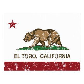 california flag el toro distressed postcard