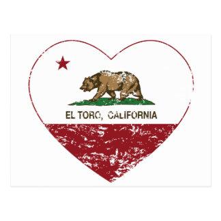 california flag el toro heart distressed postcard
