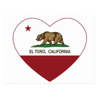 california flag el toro heart postcard
