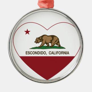 california flag escondido heart round metal christmas ornament