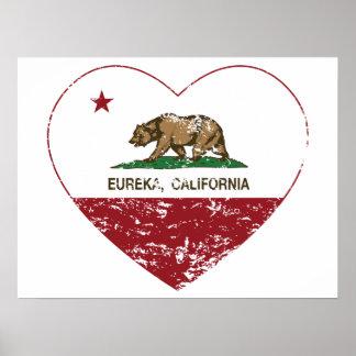 california flag eureka heart distressed print