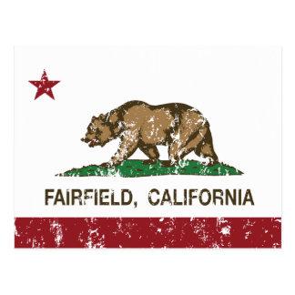 california flag fairfield distressed postcard