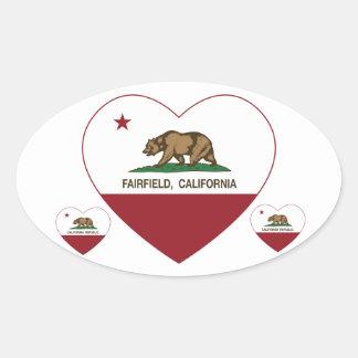 california flag fairfield heart oval sticker