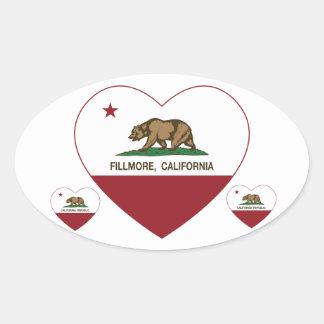 california flag fillmore heart oval sticker