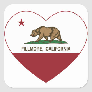california flag fillmore heart square sticker
