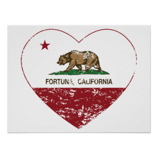 california flag fortuna heart distressed poster