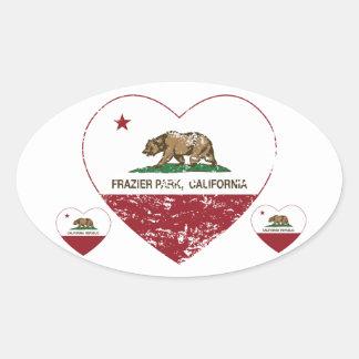 california flag frazier park heart distressed sticker