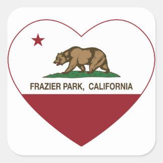 california flag frazier park heart square sticker