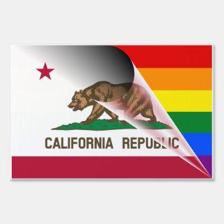 California Flag Gay Pride Rainbow Flag Yard Sign
