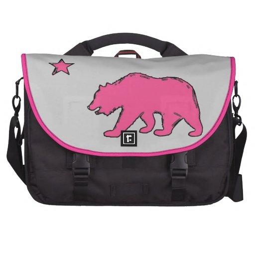 California flag gear pink bear laptop bag