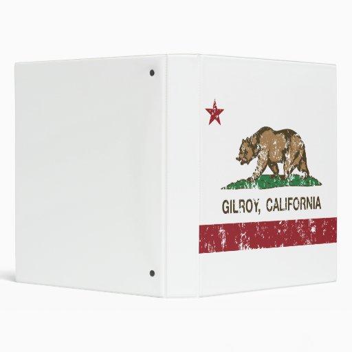 california flag gilroy distressed 3 ring binder