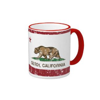california flag gilroy distressed ringer coffee mug