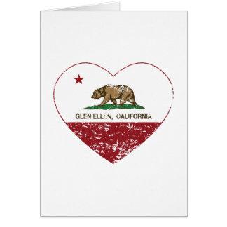 california flag glen ellen heart distressed greeting cards