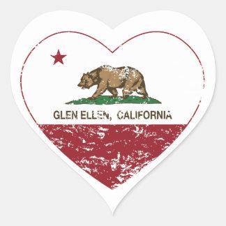 california flag glen ellen heart distressed heart sticker