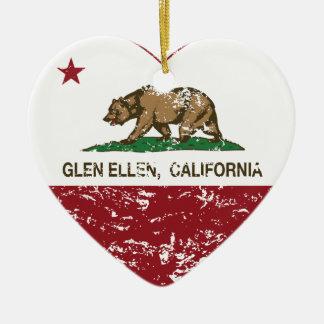 california flag glen ellen heart distressed christmas tree ornament