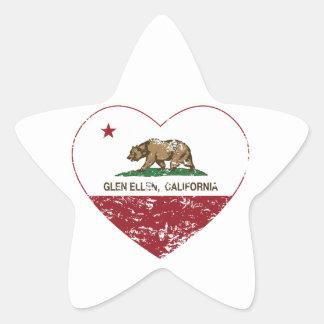 california flag glen ellen heart distressed star sticker