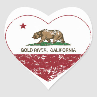 california flag gold river heart distressed heart sticker