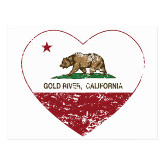 california flag gold river heart distressed postcard