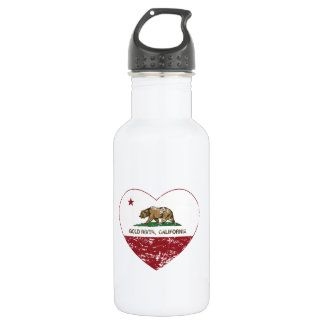 california flag gold river heart distressed stainless steel water bottle
