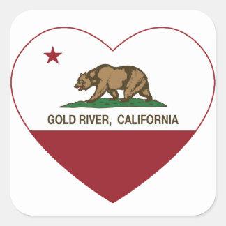 california flag gold river heart square sticker