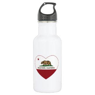 california flag gold river heart stainless steel water bottle