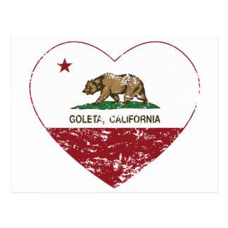 california flag goleta heart distressed postcard