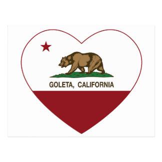california flag goleta heart postcard