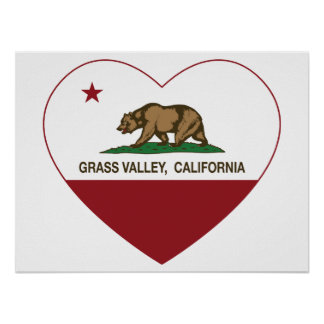 california flag grass valley heart poster
