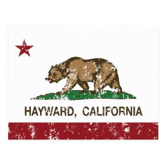 california flag hayward distressed postcard