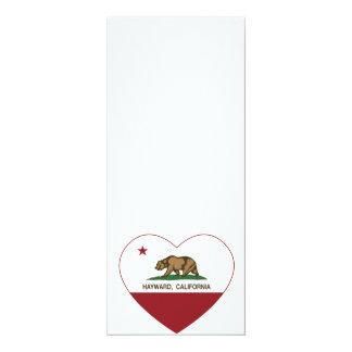 california flag hayward heart 4x9.25 paper invitation card