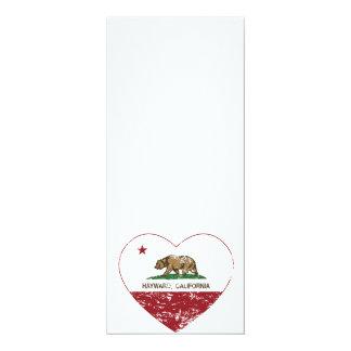 california flag hayward heart distressed 4x9.25 paper invitation card
