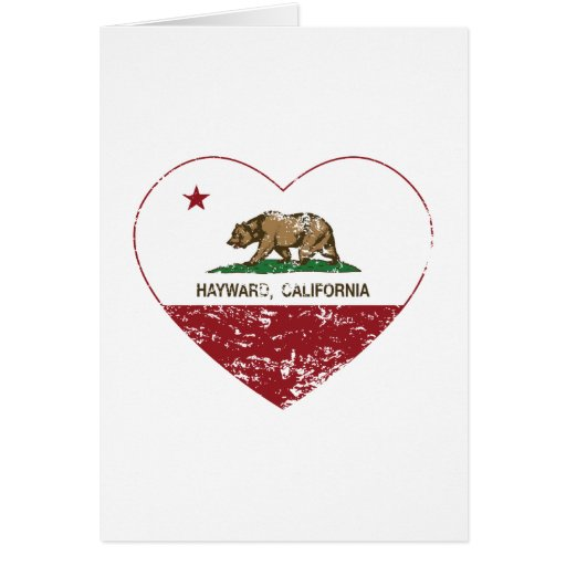 california flag hayward heart distressed greeting cards