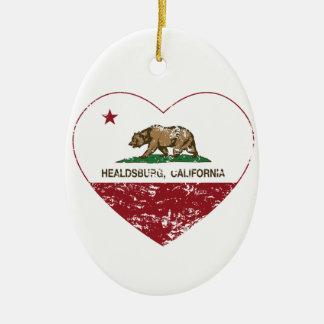 california flag healdsburg heart distressed Double-Sided oval ceramic christmas ornament