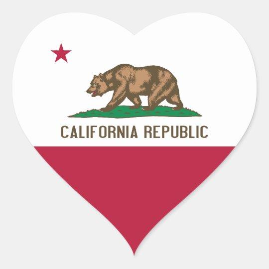 California Flag Heart Sticker