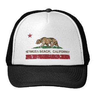 california flag hermosa beach distressed trucker hat