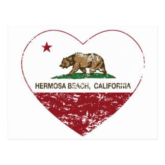 california flag hermosa beach heart distressed postcard