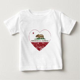 california flag hermosa beach heart distressed t-shirt