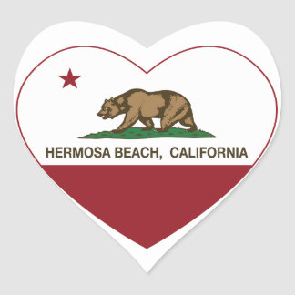 california flag hermosa beach heart heart sticker